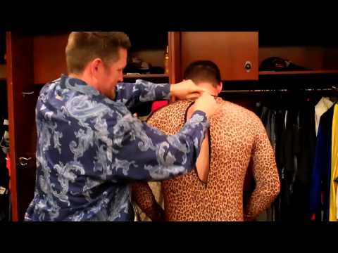 SF Giants rookie hazing - getting into costume (spandex bodysuits)
