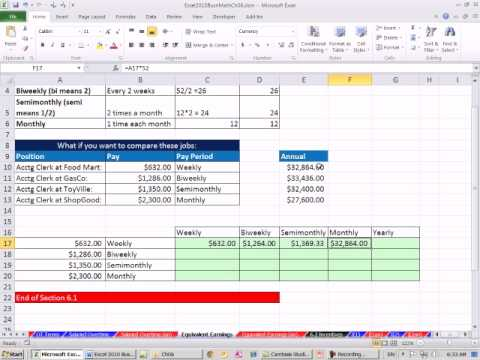 Excel 2010 Business Math 46: Calculating Equivalent Earnings For Different Pay Periods