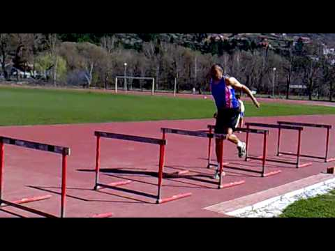 Triple Jump Drill, one leg jump over hurdles