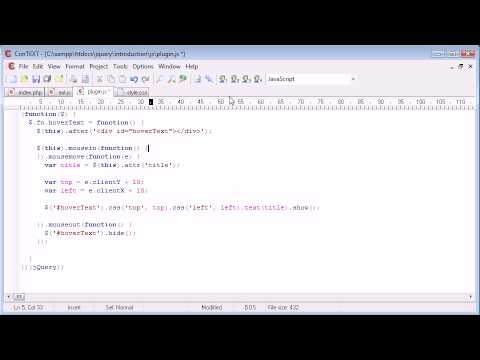 jQuery Tutorial - 131 - Creating a hover text plugin