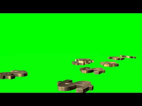 many Dollars Sign fall to the ground - different views -  green screen effects