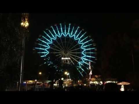 Динамическая подсветка колеса обозрения ВДНХ в Москве