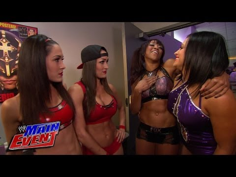 The Bella Twins run into Aksana & Alicia Fox before their match: WWE Main Event, Jan. 22, 2014