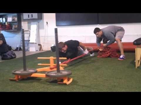DeFrancosGym.com: Dave Diehl performs explosive prowler rows & plank/rows!