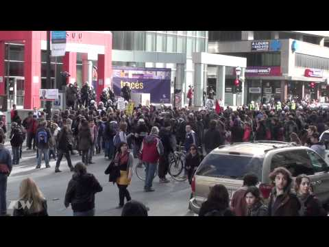 Students Protest Clash with Riot Police Montreal Quebec March 31 2011