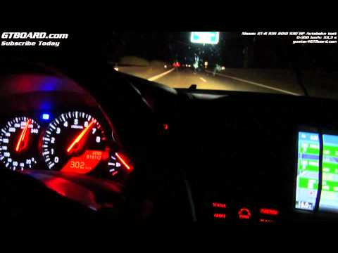Nissan GT-R 0-300 km/h (0-186 mph) Autobahn at night by GTBOARD.com and Gustav (485 HP stock)