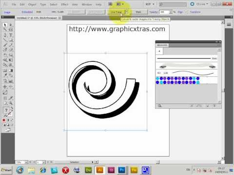 Convert photoshop brushes to Illustrator brushes - trace tutorial (CS5 CS4 etc) (swirls)