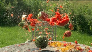 Rubber Bands vs Watermelon in Slow Motion