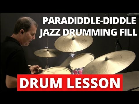 Jazz fill using paradiddle-diddle sticking - DRUM LESSON with John X