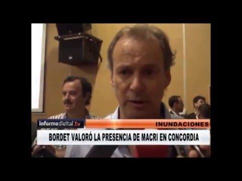<b>Inundaci�n en Concordia. </b>Gustavo Bordet habl� de la visita de Macri.