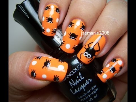 Halloween Nail Design- Polka Dot Spiders
