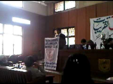 Winning URDU funny Speech At All Pakistan declamations 2010 lahore-Syed Ahmed Hussain