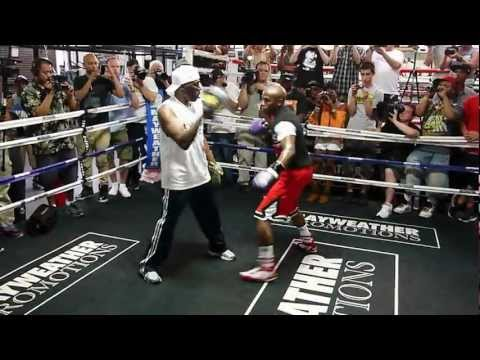 Floyd Mayweather Jr. Padwork during media day 4-24-12