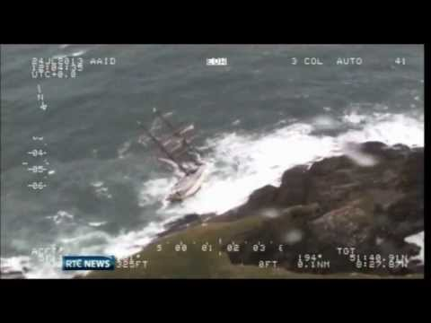 TALL SHIP ASTRID SHIPWRECKED NEAR CORK IRELAND -  RTE NEWS REPORT WEDNESDAY 24TH JULY 2013