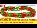 COMO HACER PULSERA FISHTAIL DE GOMITAS SIN TELAR RAINBOW LOOM (COLA DE PESCADO) TUTORIAL ESPAÑOL DIY