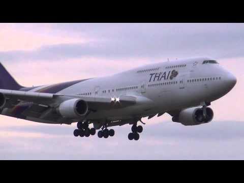 Thai Airways Boeing 747 Landing Rome-FCO-LIRF-Leonardo Da Vinci-Fiumicino Airport HS-TGF RWY 16R[HD]