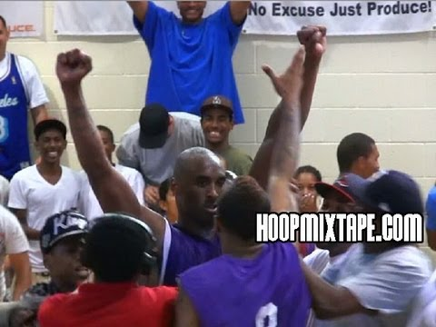 Kobe Bryant Hits CRAZY Gamewinner At Drew League!!! Crowd Chants Kobe!
