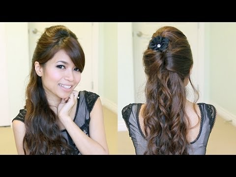 Elegant Holiday Half-Updo Hairstyle | Curly Hair Tutorial