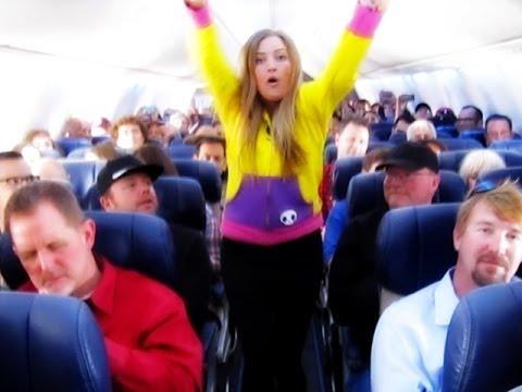 Crazy girl dancing on Southwest plane!!!