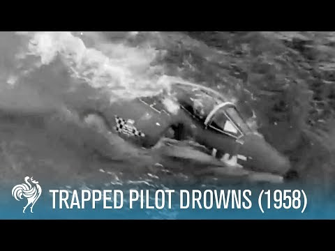 Trapped Pilot Drowns in Sinking Cockpit (1958) - Captured on Camera [HD]