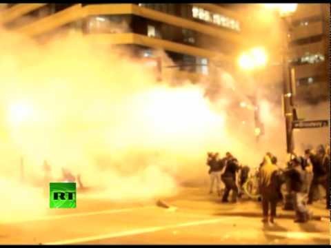 Occupy Oakland video: Riot police fire tear gas, flashbang grenades