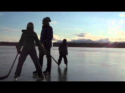 Skating at Shallow Bay, Lake Laberge