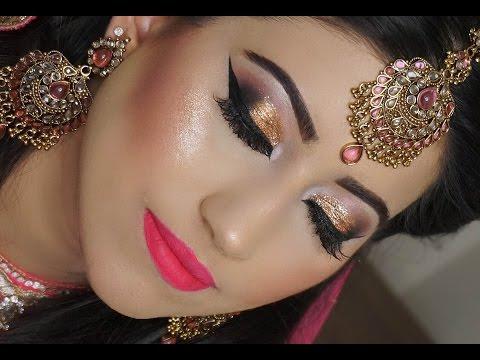 Real Bride | Engagement/Nikaah Asian Bridal Makeup | Gold Smokey Eyes And Bright Pink Lipstick