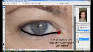Photoshop CS3 Beginners Tutorial - Adding Eyeliner (HD)
