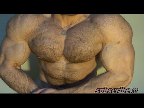 Hairy Musclegod flexing muscles