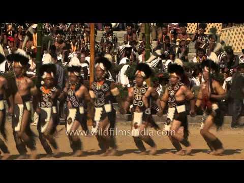 Khiamniungan cultural troupe performing at Naga Heritage village