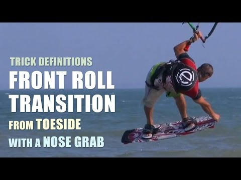 Front Roll trans from toeside with a Nose Grab - Kitesurfing Trick Technique