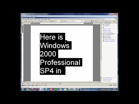 Windows 2000 Professional (SP4) in Microsoft Virtual PC 2007