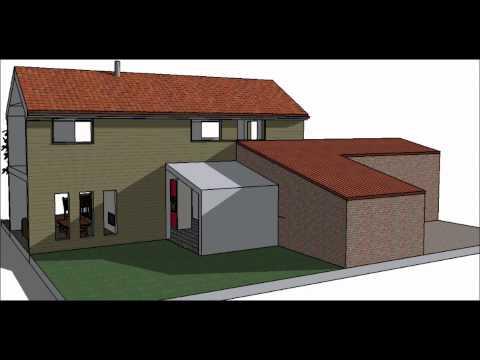 Dessin 3 d plan de maison ou extension lpdm les pros de for Extension maison 3 ou 4 murs