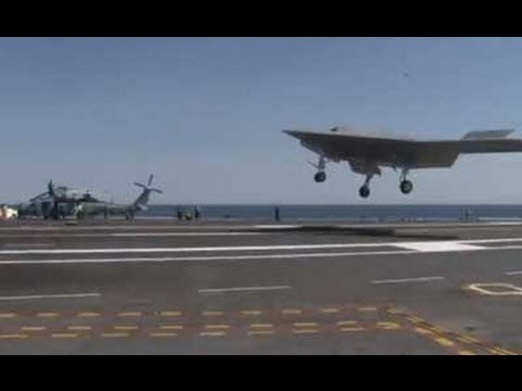 X-47B UCAS-D Practicing Precision Landing on CVN-77