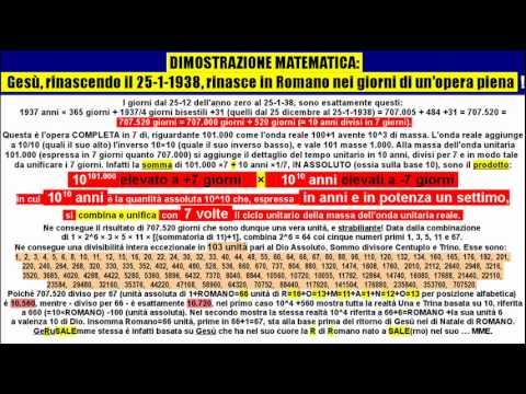 Verifica matematica del ritorno in vita di Gesù il 25-01-1938 dato da 44,02286338^2 = 1938,0125.wmv