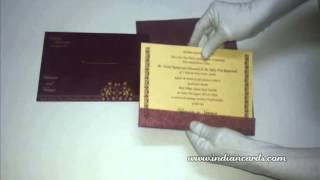 [W-4771D, 60GSM, Maroon Wooly, Matte Cream Insert,Islamic Wed...] Video
