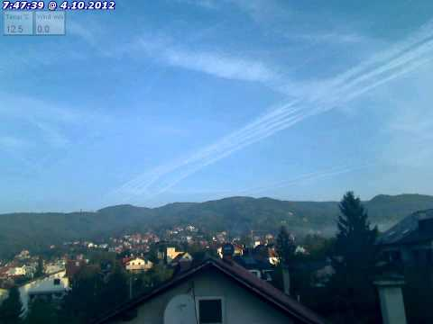 Chemtrails time lapse Zagreb, Croatia 04.10.2012 1/2