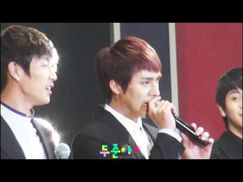 [Fancam] 111203 BEAST Dongwoon : (Speaking English) Doojun : I'm sorry @ Hallyu Week Concert
