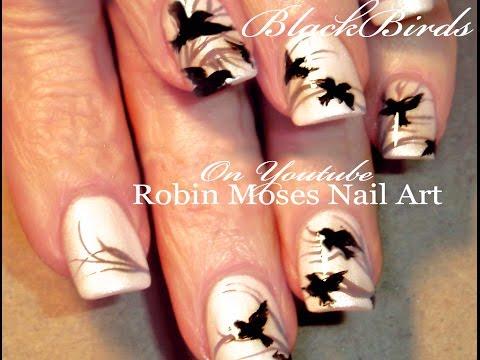Indie Black Bird Nail Art - Urban Chic