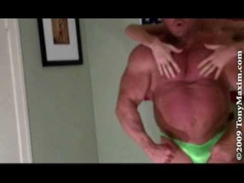Muscleman Tony Maxim with the Tall Guy. Flexing, Worship, Bearhugs, Ovehead Press, Curling