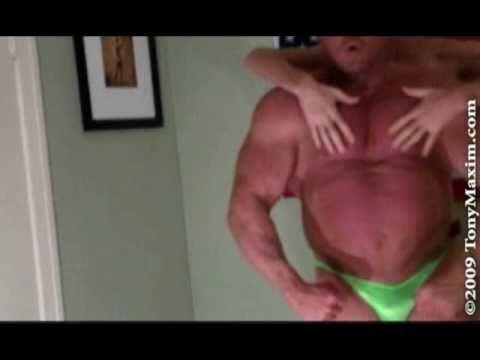 Muscleman Tony Maxim with the Tall Guy. Flexing, Worship, Bearhugs, Ovehead Press, Curling