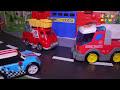 Фрагмент с средины видео - Мультики с игрушками про машинки - Пожарные машины и горящий вагон.