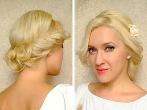 Greek goddess hairstyle for medium long hair tutorial Cute quick easy curly updo summer 2011