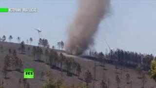 Очевидец заснял песчаный вихрь, образовавшийся на пепелище в Португалии
