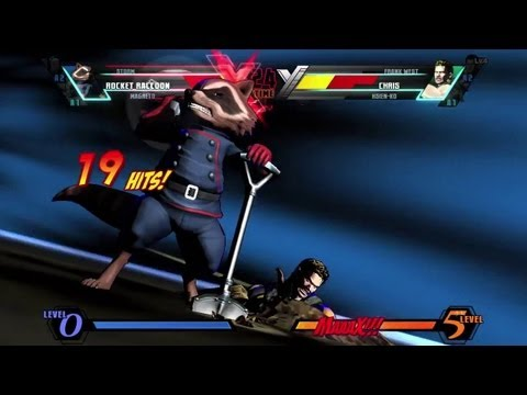 Ultimate Marvel vs Capcom 3 'Rocket Raccoon, Magneto, Storm vs Frank West, Hsien-Ko, Chris' [HD]