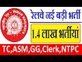 Railway Upcoming Recruitment 2018-19 ntpc,rpf,asm,ticket collector,clerk #ExamDate #NeoWorldTech