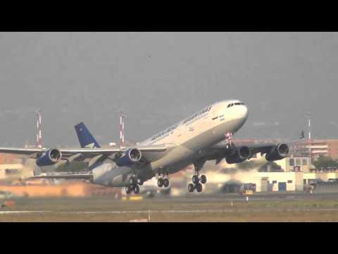 Aerolineas Argentinas A340 Sunset Take Off Rome-Fiumicino (Leonardo da Vinci) (FCO / LIRF) LV-ZPO