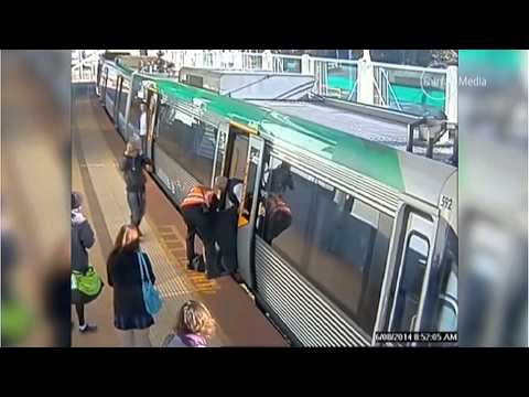 Man with foot trapped in train gap, WITH SOUND - , Perth, Australia