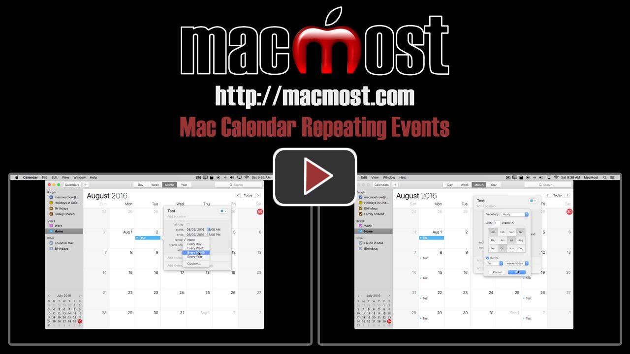 Calendar Repeat : Mac calendar repeating events macmost