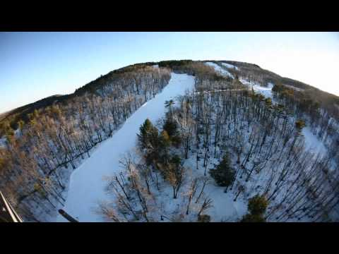 Time-Lapse Helicopter Fly-over Wachusett Mountain Ski Area and Wind Farm